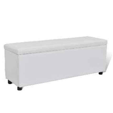 banc banquette coffre de rangement 120 cm blanc