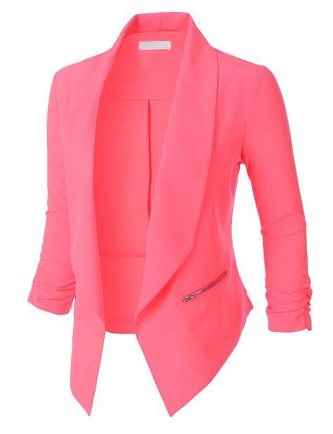 Womens Open Front Ruched 34 Sleeve Blazer Jacket Women