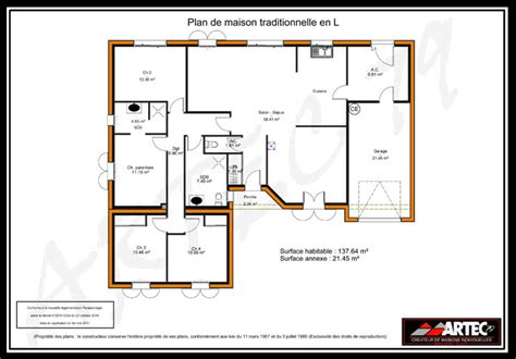plan maison 4 chambre plain pied plan maison 100m2 4 chambres