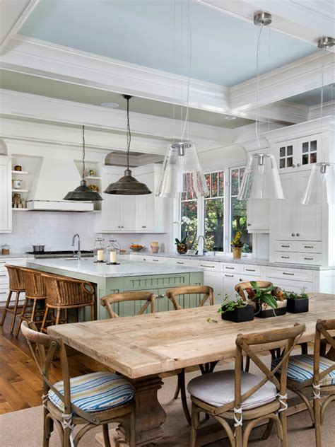 Blue Painted Ceiling  Cottage  Kitchen  Markay Johnson
