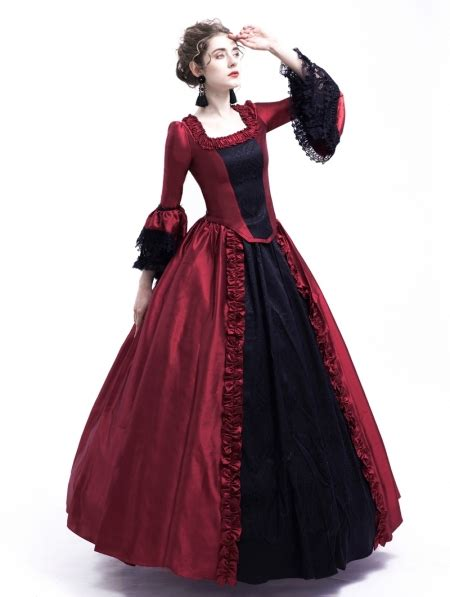 black  red marie antoinette gothic victorian ball gown