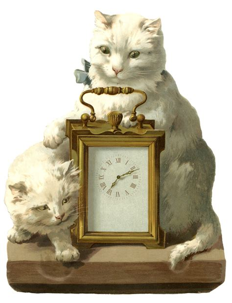 fantastic vintage image clock  cats  graphics fairy