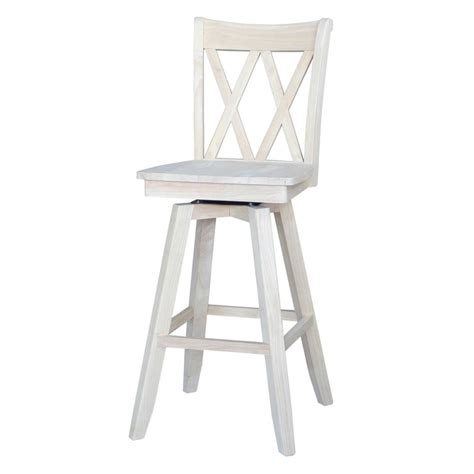 White Wooden Bar Stools With Backs by International Concepts X Back 30 In Unfinished