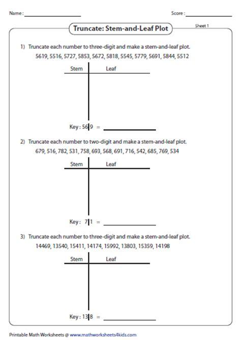 printables  stem  leaf plot worksheet