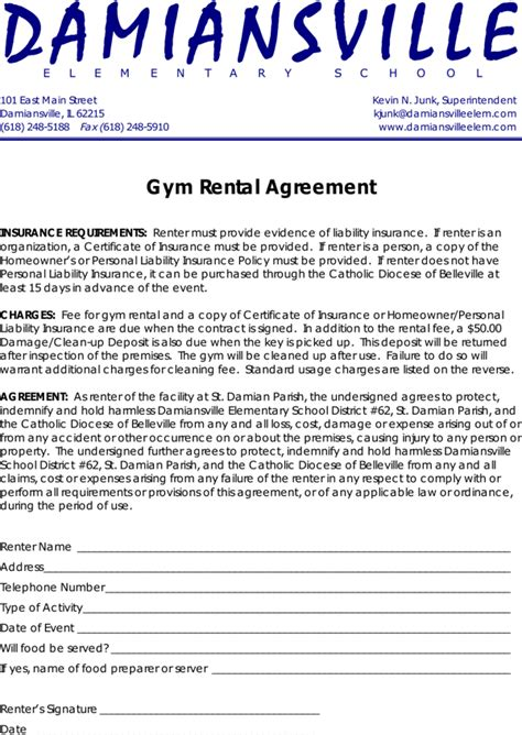 gym rental agreement contract template