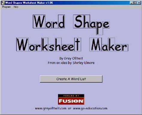 free word shape worksheet maker
