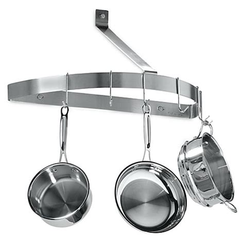 wall pot rack cuisinart 174 brushed stainless steel half circle wall pot