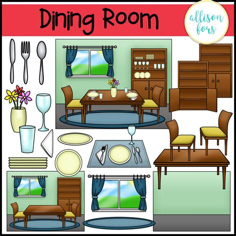 Dining Room Clipart Images by House Kitchen Dining Room Clip Bundle Allison Fors