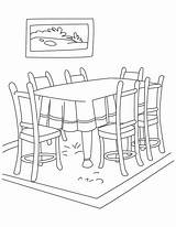 Dining Clipart Coloring Pages Living Clip Clker Furniture sketch template