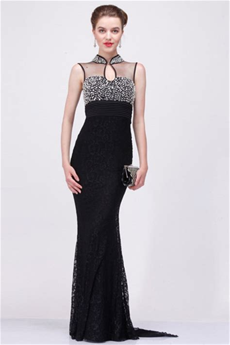 sheath high neck sheer  black tulle lace beaded