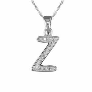 girls initial letter z necklace cubic zirconia sterling With letter z initial necklace