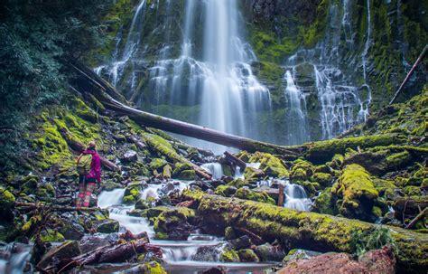 Proxy Falls Hiker - Bend Oregon Stock Photography