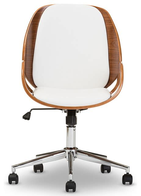watson white and walnut office chair contemporary