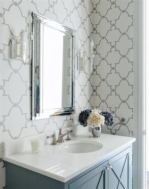 gray bathroom  quatrefoil wallpaper transitional
