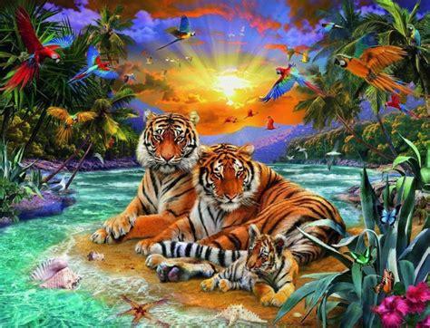 Puzzle sestavljanka Ravensburger Tigri in sončni zahod 2000 kosov | Trgovina Eigrače.com