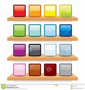 Icon On Wood Shelf Display Vector Template Design Stock