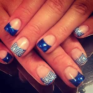 Royal blue nails chevron art design nail designs