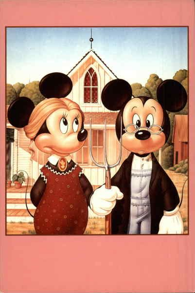 mickey minnie mouse american gothic pop art
