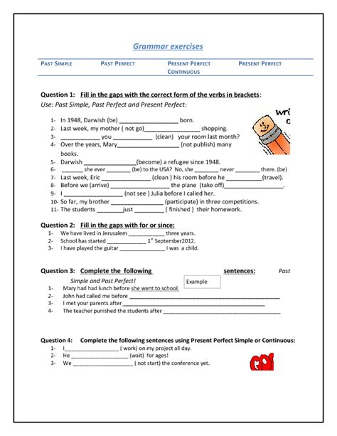 54 free present perfect continuous worksheets