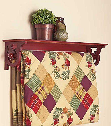wood wooden quilt rack wall mount shelf scroll walnut