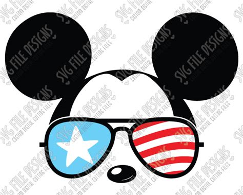 That mickey mouse silhouette is everywhere and essential to any disneyland related gear. Cool Mickey Mouse American Flag Sunglasses SVG Cut File Set