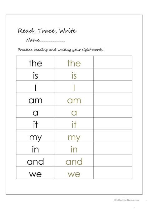 read trace and write worksheets for kindergarten read