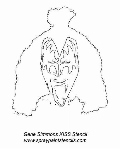 Stencil Simmons Gene Outline Kiss Stencils February