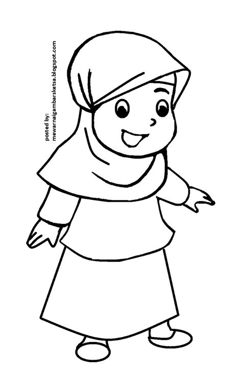 Wanita berhijab catik sedang selfie. Mewarnai Gambar: Mewarnai Gambar Sketsa Kartun Anak Muslimah 53
