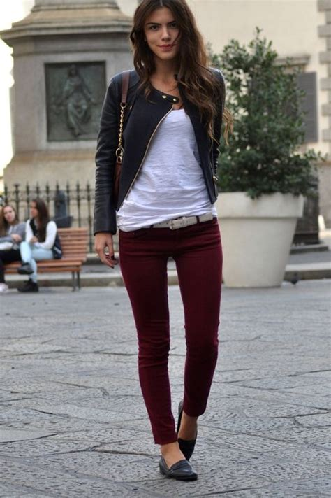 Dark maroon skinny jeans u0026 an edgy   Maroon leggings outfit   Pinterest   Maroon Skinny Jeans ...