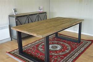 table metal bois salle manger atlubcom With deco cuisine avec table salle a manger bois metal