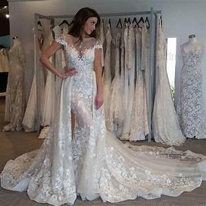 dramatic bateau short sleeves detachable train mermaid With wedding dress removable sleeves