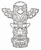 Totem Pole Coloring Printable Poles Native Indian Animal Tattoo Patterns Symbols sketch template