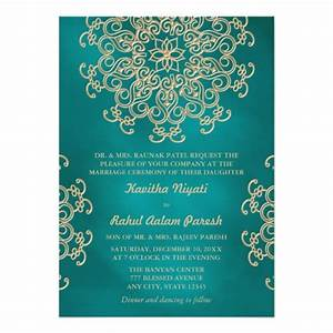 teal and gold indian style wedding invitation zazzlecom With indian wedding invitation card creator