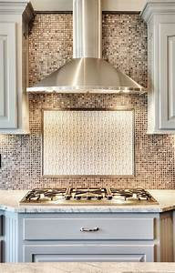 Chrome Stainless Steel Vent Hood  Painted Kitchen Cabinets