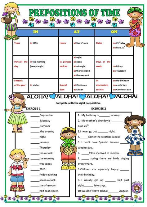 125 free esl prepositions of time worksheets