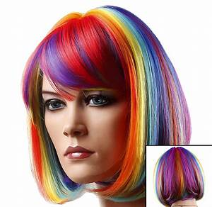 Colored Wigs - Rainbow Multi-Colored Wig
