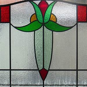 Simple 1930's Stained Glass Panel - From Period Home Style