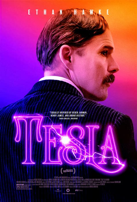 exclusive tesla poster featuring titular star ethan hawke