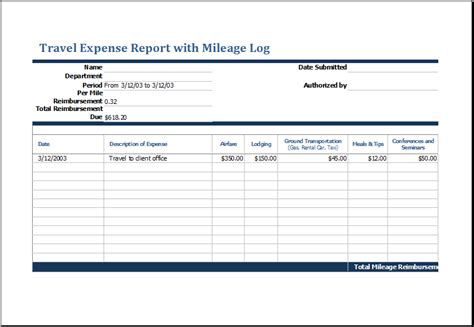 travel expense report  mileage log excel templates