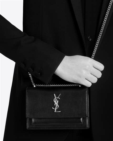 saint laurent sunset chain wallet  black leather