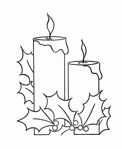 Coloring Holly Christmas Candle Candles Pages Printable