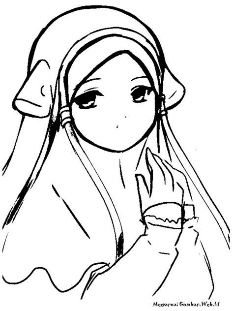 gambar anime muslim hitam putih mewarnai gambar anak soleha mewarnai gambar