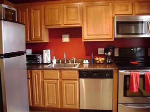 kitchen wall color ideas with oak cabinets design idea With best brand of paint for kitchen cabinets with wall art red