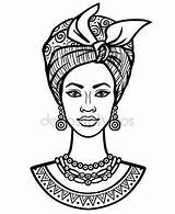 African Drawing Woman Turban Illustration Vector Portrait Drawings Animation Young Background Getdrawings Print Poster sketch template