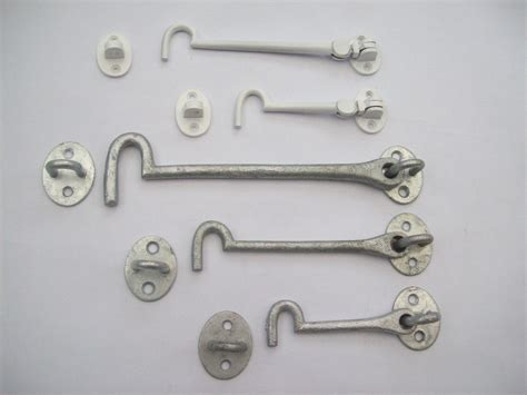 tuff shed door handle hardware cast iron galvanised white cabin hook and eye shed gate