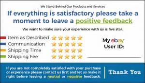 50 blue ebay seller thank you cards 5 star feedback rating With ebay feedback templates