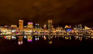 Night Time Skyline Baltimore Inner Harbor Photograph by