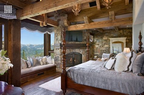 rustic master bedroom with window seat by locati