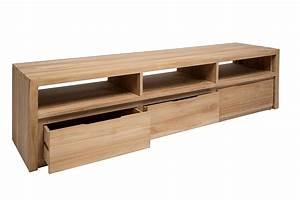 grand meuble tv 180 cm en teck massif 3 niches 3 tiroirs With meuble salle de bain teck 180 cm