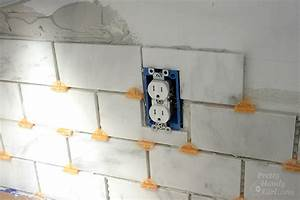 How to tile a backsplash part 1 tile setting pretty for How to lay backsplash around outlets